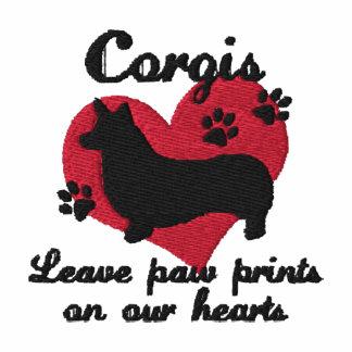 Corgis Leave Paw Prints Women's Embroidered Shirt