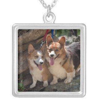 corgis silver plated necklace