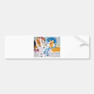 Corgis Snow Fun Bumper Stickers