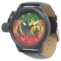 cori rasta reggae graffiti flag lion wrist watch