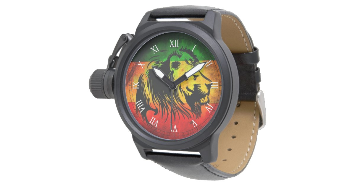 cori rasta reggae graffiti flag lion wrist watch | Zazzle.com