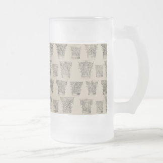 Corinthian and Composite Capitals Frosted Glass Beer Mug