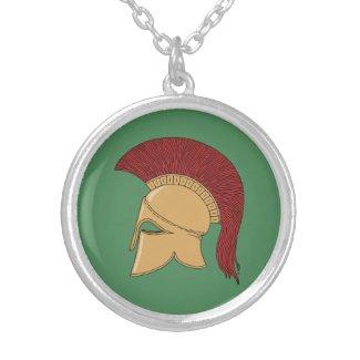 Corinthian Helmet Round Pendant Necklace