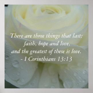 Corinthians 13:13 Bible Verse White Rose Print