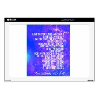 """""""Corinthians 13: 4-8"""" Decals For 17"""" Laptops"""