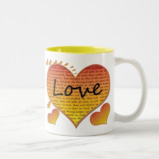Corinthians del amor 1 13 corazones taza de café de dos colores