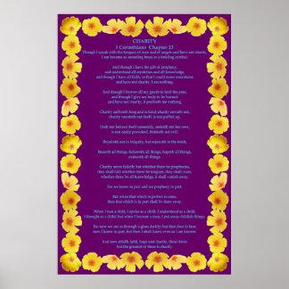 Corinthians I-13 in a Golden Poppy Frame Poster
