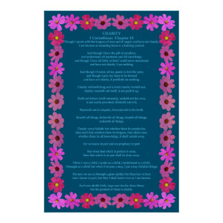 Corinthians I-13 in a Pink Cosmos Frame Poster