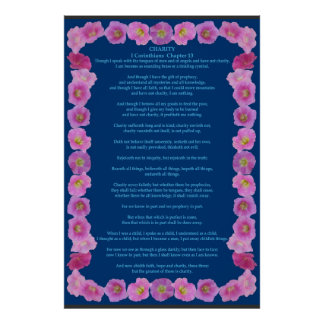 Corinthians I-13 in a Pink Hollyhock Frame Poster