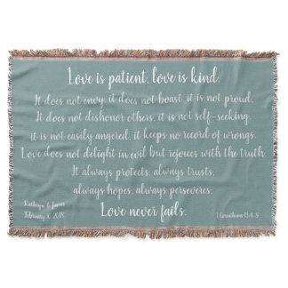 Corinthians, Love is Patient (add Names & Date) Throw Blanket
