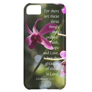 Corinthians Verse: Love Endures, Floal Pink Orchid Cover For iPhone 5C