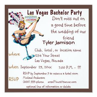 """Corista de la despedida de soltero de Las Vegas Invitación 5.25"""" X 5.25"""""""