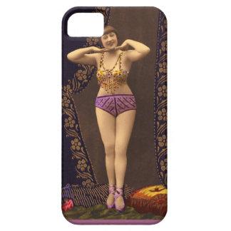 Corista del vintage de la diversión en púrpura y iPhone 5 Case-Mate cárcasa