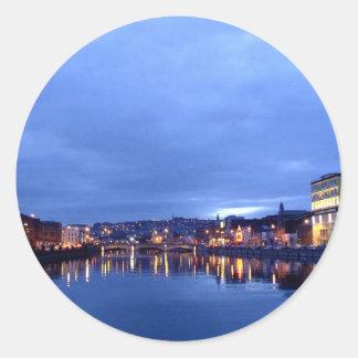 Cork at Night, Ireland Classic Round Sticker