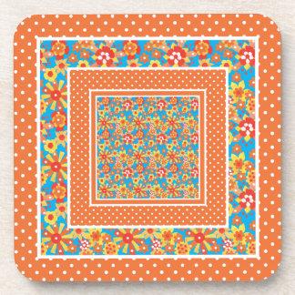 Cork-backed Coasters: Orange Floral and Polka Dots Beverage Coaster