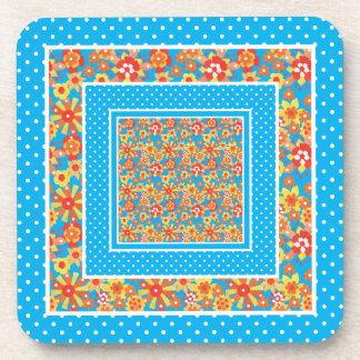 Cork-backed Coasters Orange Floral Blue Polka Dots