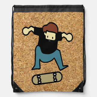 cork background skateboard drawstring bag