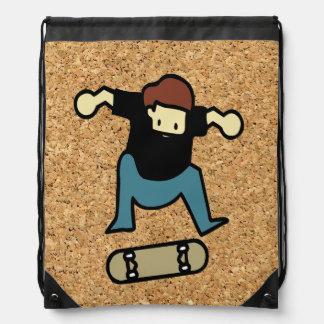 cork background skateboard drawstring bag