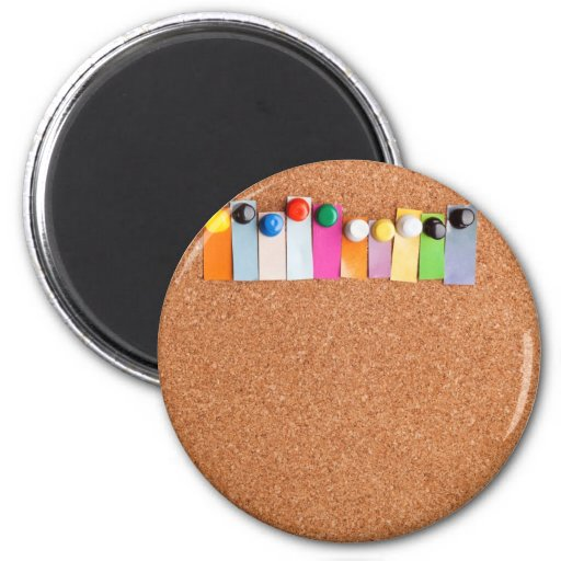 Cork board and heading for ten letter word 2 inch round magnet