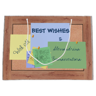 Cork Board Memo Notes Customizable Message Large Gift Bag