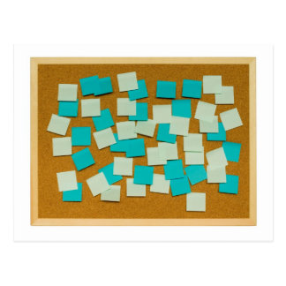 Cork board with sticky notes postcard