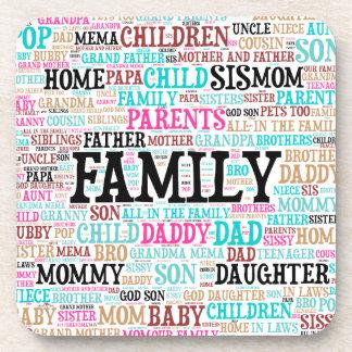 Cork Coaster Family Word Cloud
