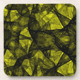 Cork Coaster fractal art black and yellow