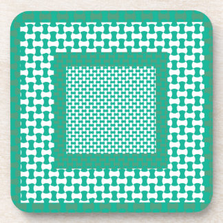 Cork Coaster or Table Mat, Emerald Green Geometric