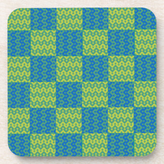 Cork Coaster or Table Mat, Green and Blue Patterns