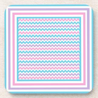 Cork Coaster, Pink, Mauve, Turquoise Chevrons Coaster