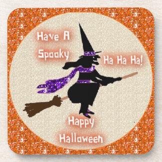 Cork Coaster Set Broom Stick Witch