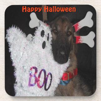 Cork Coaster Set German Shepherd Halloween Boo