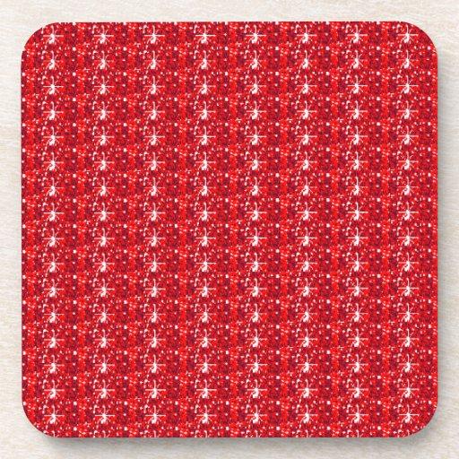 Cork Coaster Set Red Glitter
