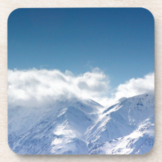 Cork coaster set with photo of snowy mountaintop