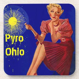 Cork Coaster Vintage Retro Sparkler Pyro Ohio
