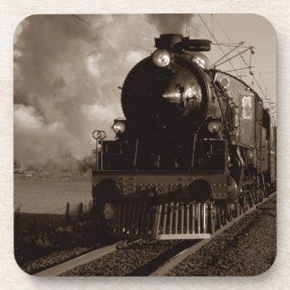 Cork Coaster Vintage Sepia Steam Locomotive Train