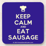 [Chef hat] keep calm and eat sausage  Cork Coasters