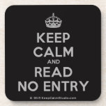 [Crown] keep calm and read no entry  Cork Coasters
