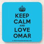 [Crown] keep calm and love omar  Cork Coasters