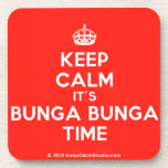 [Crown] keep calm it's bunga bunga time  Cork Coasters