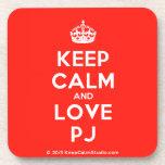 [Crown] keep calm and love pj  Cork Coasters