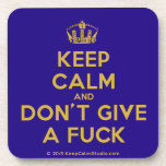[Dancing crown] keep calm and don't give a fuck  Cork Coasters