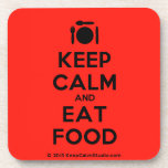 [Cutlery and plate] keep calm and eat food  Cork Coasters