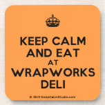 [Crown] keep calm and eat at wrapworks deli  Cork Coasters