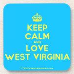 [Crown] keep calm and love west virginia  Cork Coasters