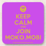[Smile] keep calm and join moko.mobi  Cork Coasters