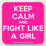 keep calm and fight like a girl  Cork Coasters