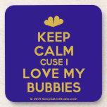[Two hearts] keep calm cuse i love my bubbies  Cork Coasters