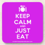 [Cutlery and plate] keep calm and just eat  Cork Coasters