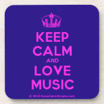 [Dancing crown] keep calm and love music  Cork Coasters